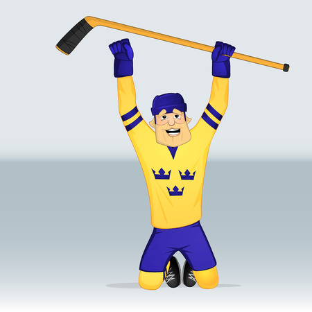ice hockey team sweden player standing on knees drawn in cartoon style