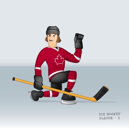 Canada team ice hockey player celebrating the goal drwan in cartoon style Illustration