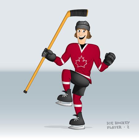 Canada team ice hockey player celebrating the goal drwan in cartoon style Illusztráció