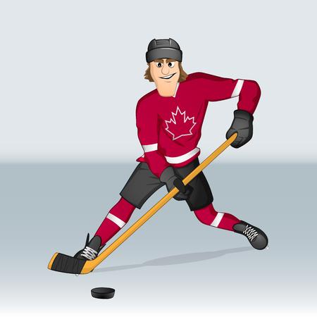 Canadian ice hockey player drawn in cartoon style