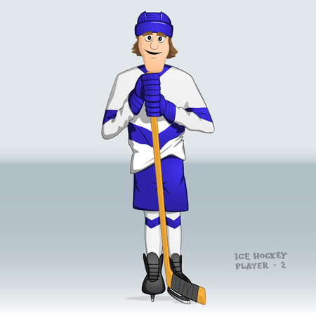 ice hockey player standing leaning on stick Illustration