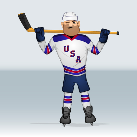 USA team ice hockey player standing with stick on shoulders drawn in cartoon style