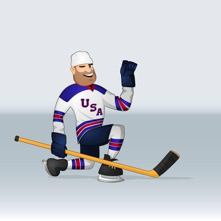 USA team ice hockey player sliding on one knee drawn in cartoon style Ilustrace