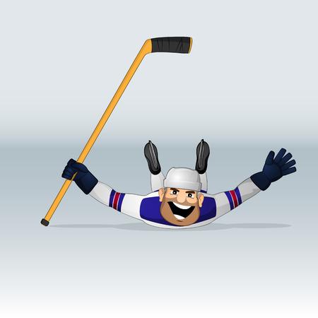 USA team ice hockey player sliding drawn in cartoon style