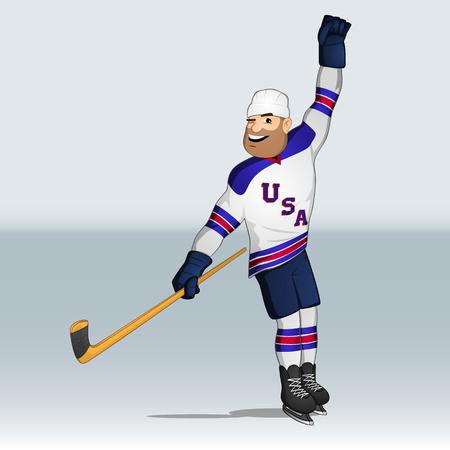 USA team ice hockey player having shot the goal drawn in cartoon style