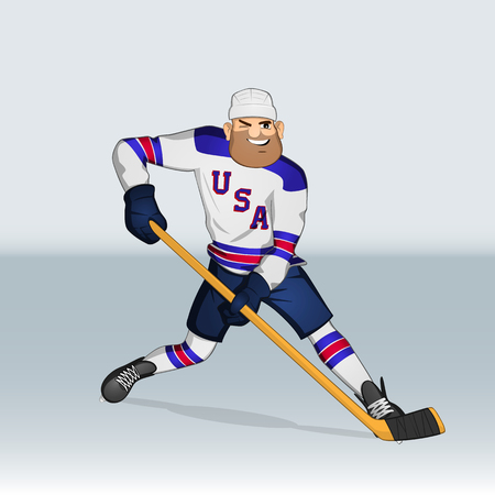 puck: USA ice hockey team player attacking drawn in cartoon style