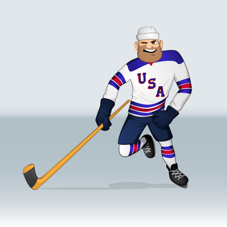 USA ice hockey team player attacking drawn in cartoon style