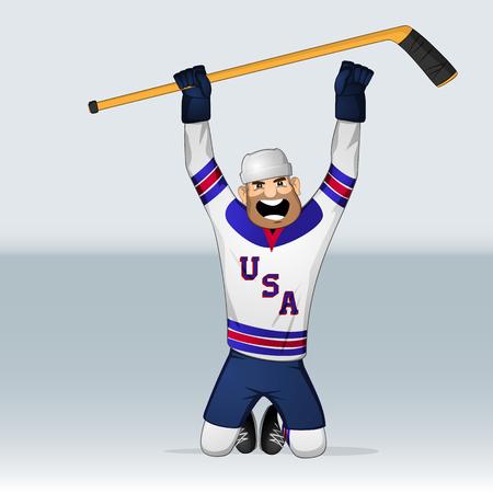 USA ice hockey team player on knee drawn in cartoon style