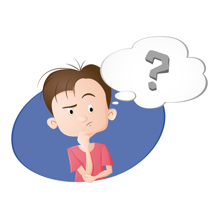 Ein Junge denkt. Eine Blase mit Fragezeichen. Gezeichnet in Cartoon-Stil. Getrennt auf weißem Hintergrund. Vektorgrafik