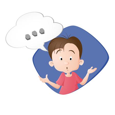 Un garçon qui réfléchit. Une bulle avec trois points. Dessiné en style cartoon. Isolé sur fond blanc