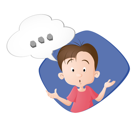 A boy thinking. A bubble with three dots. Drawn in cartoon style. Isolated on white background.