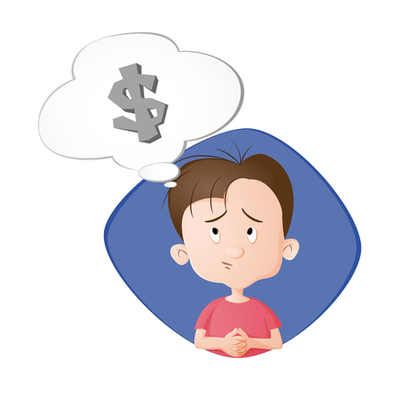 A boy thinking. A bubble with dollar sign. Drawn in cartoon style. Isolated on white background.