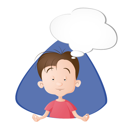 A boy meditation. A bubble with emptiness. Drawn in cartoon style. Isolated on white background.