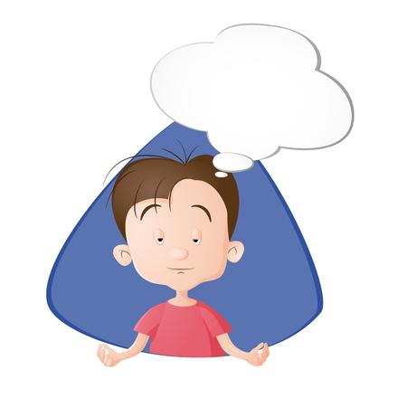 Un garçon en méditation. Une bulle avec le vide. Dessiné en style cartoon. Isolé sur fond blanc