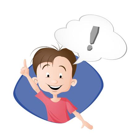 Un niño pensando. Una burbuja con signo de exclamación. Dibujado en estilo de dibujos animados. Aislado sobre fondo blanco