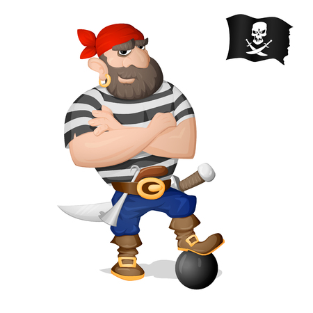 A pirate standing with a sword and a gun. Isolated from background. Drawn in the cartoon style