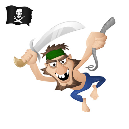A pirate on a rope with a saber. Isolated from background. Drawn in the cartoon style Ilustrace
