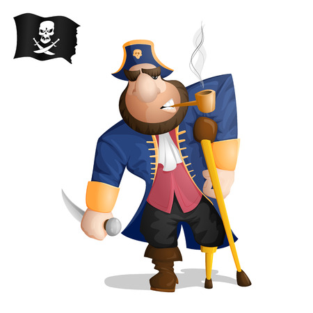 A one legged pirate standing with a knife and smoking a pipe. Isolated from background. Drawn in the cartoon style