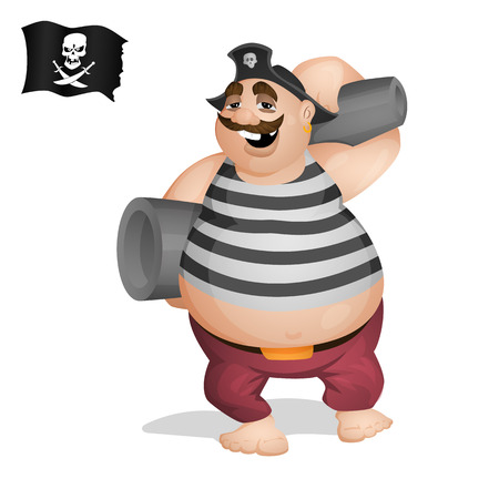 A pirate with cannons. Isolated from background. Drawn in the cartoon style