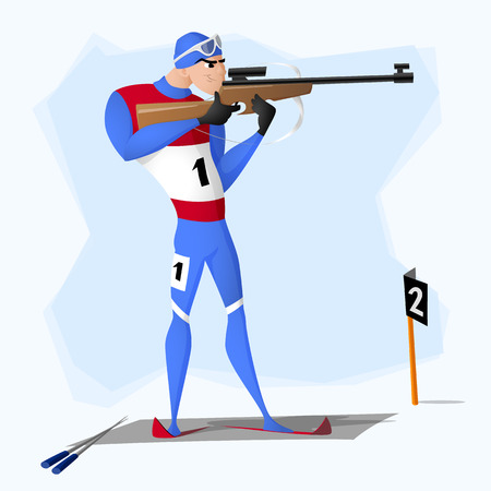 A biathlete standing with a rifle. A vector illustration isolated from background. Drawn in a flat style. Illusztráció