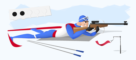 A biathlete lying with a rifle. A vector illustration isolated from background. Drawn in a flat style.