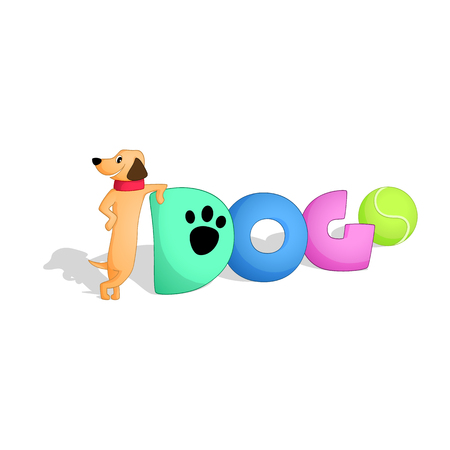 Word dogs with a smiling dog leaning on it. A cartoon style vector image. Isolated from background.