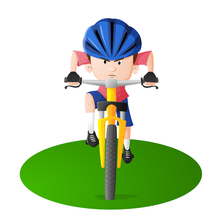 A boy in a blue helmet riding a yellow bike. Isolated from background. Drawn in cartoon style. Illustration