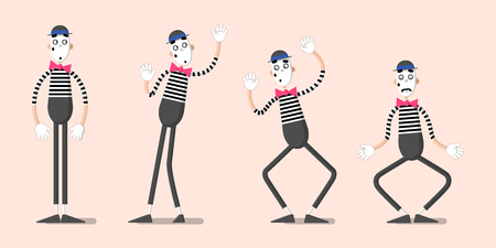 A set of mime performances. Behind the invisible wall. Drawn in flat style.