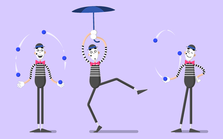 A set of mime performances. Juggling and flying with an umbrella. Drawn in flat style.