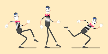 A set of mime performances. Walking in place in different styles. Drawn in flat style.