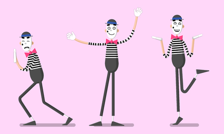 A set of mime performances. Pushing something invisible, happy and greeting. Drawn in flat style. Ilustracja