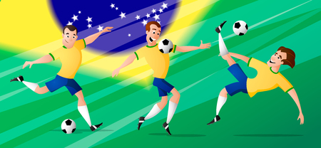 The set of team Brazil Football or soccer players in yellow blue uniform kicking the ball. Isolated from background. Drawn in a cartoon style.
