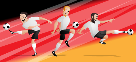 The set of team Germany football or soccer players kicking the ball. Isolated from background. Drawn in a cartoon style.