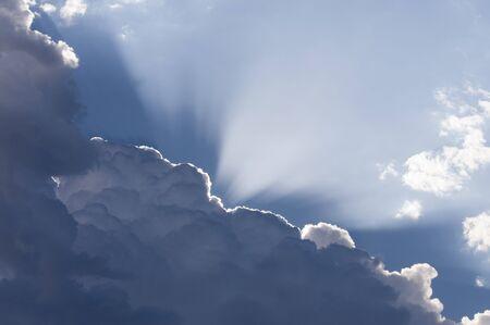 Sun rays burst through clouds. Willamette Vally, Oregon.