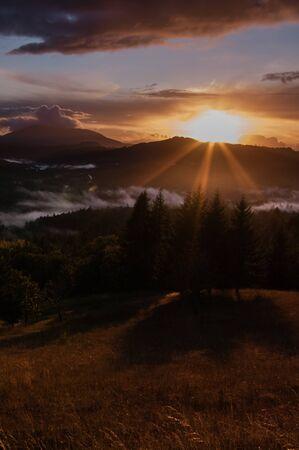 willamette: Marys Peak Sunset from Fitton Green Natural Area. Willamette Valley, Oregon Stock Photo