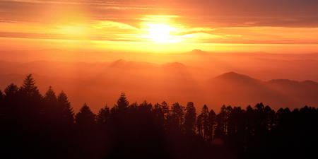 Sunset over the Oregon Coast Range from Marys Peak. Oregon.