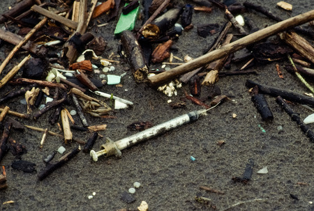 hypodermic needle: Hypodermic needle found during the annual beach cleanup on the Oregon Coast.