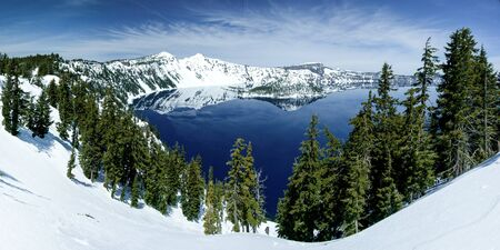crater: Crater Lake and Wizard Island. Crater Lake National Park, Oregon. Stock Photo