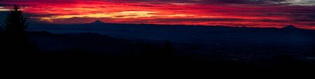mount hood: Willamette Valley Oregon at Sunrise with Mount Hood and Mount Jefferson visible from Marys Peak.