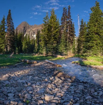 Canyon Creek with Three-fingered Jack. Mt Jefferson Wilderness. Oregon.