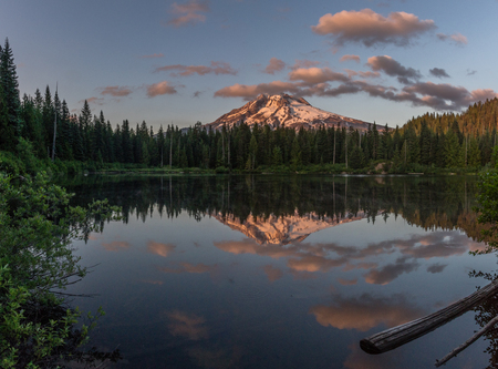Mt Hood and Burnt Lake at sunset. Mt Hood WIlderness Area, Oregon.
