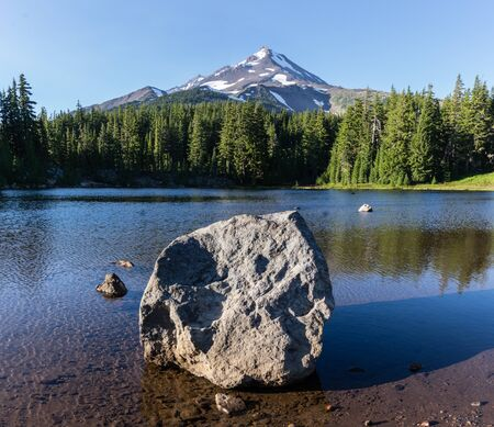 Coyote Lake is at 5800 feet elevation along the Pacific Crest Trail, Mount Jefferson Wilderness Area, Oregon.