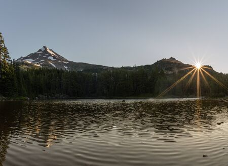 Sunrises at Coyote Lake (5800 feet elevation) along the Pacific Crest Trail, Mount Jefferson Wilderness Area, Oregon.