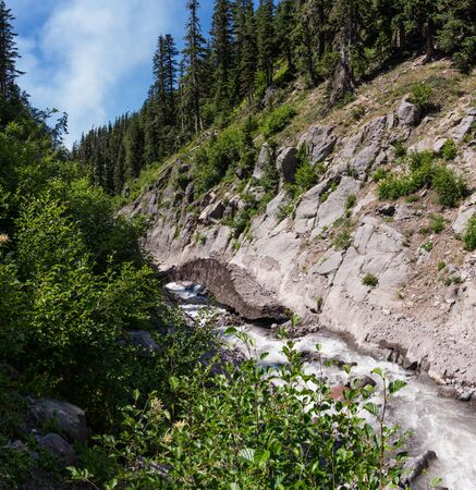 Russell Creek flows from Russell Glacier on Mount Jefferson. Mt Jefferson Wilderness Area, Oregon. Stock Photo