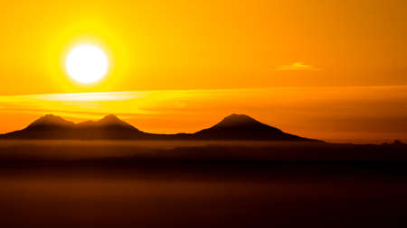 Sunrise over the Three Sisters and Willamette Valley, Oregon, as seen from Marys Peak National Recreation Area.