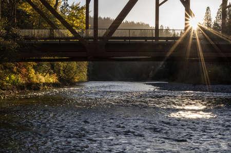 Bridge crossing the Cle Elum River, Washington.