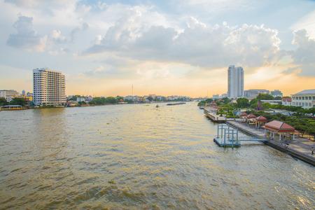 phraya: View of Chaophraya river on steel bridge, Bangkok Thailand