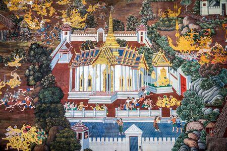 Traditionelle Thai, Malerei, Kunst zu Ramayana Geschichte auf Tempelwand, Wat Prakaew, Bangkok