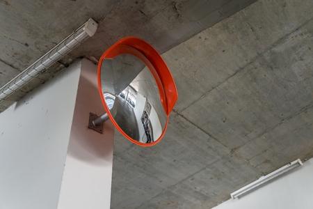 multi story car park: Indoor traffic convex mirror in car parking