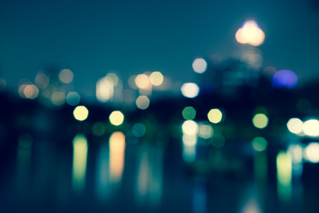 Abstract urban night light bokeh, defocused background Archivio Fotografico